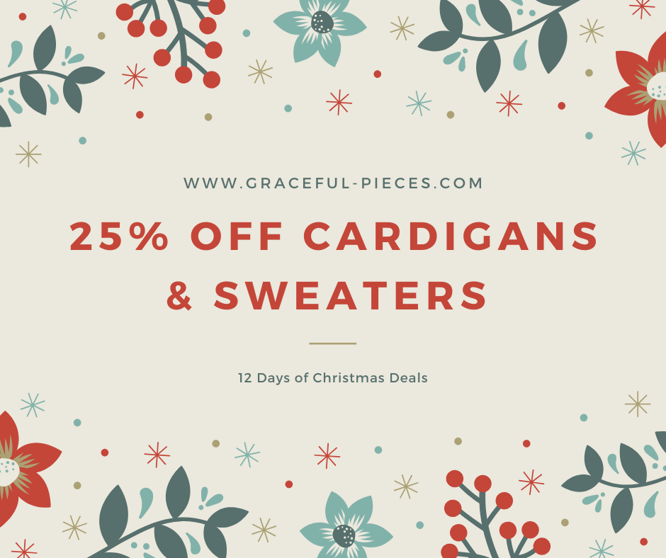 25% off cardigans and sweaters